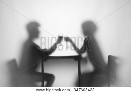 Relationship. Girl, Boy At Table With Wine Glass