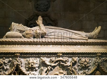 LISBON, PORTUGAL - JANUARY 08, 2019: The tomb of Vasco da Gama at the Jeronimos Monastery