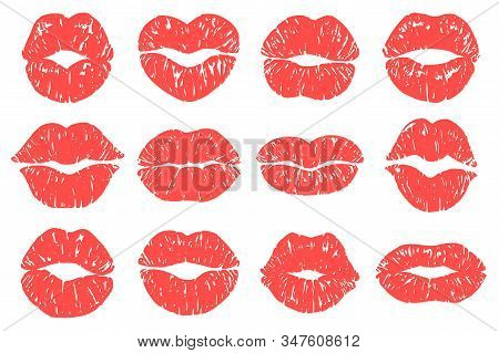 Kiss Print. Woman Red Lips, Fashion Lipstick Prints And Love Lips Kisses Makeup Vector Illustration