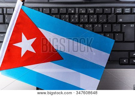 Flag Of Cuba On Computer, Laptop Keyboard