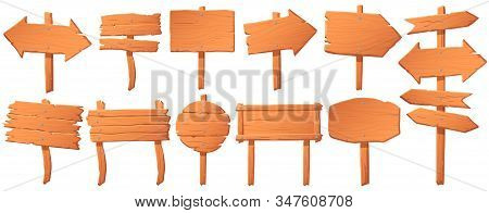 Wooden Signboard. Wood Board On Stick, Empty Signboard Or Signpost And Road Direction Pointer Arrow