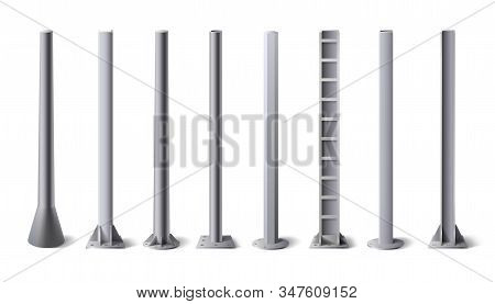 Metal Poles. Steel Construction Pole, Aluminum Pipes And Metal Column Vector Illustration Set. Bundl