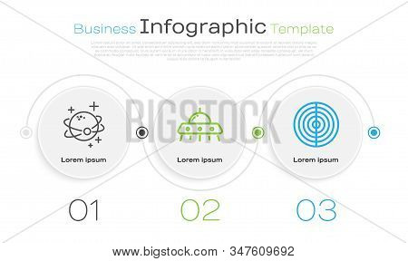 Set Line Planet, Ufo Flying Spaceship And Earth Structure. Business Infographic Template. Vector