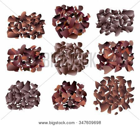 Vector Set Of Sweet Dark Chocolate Bar Crumb Piles On White Background