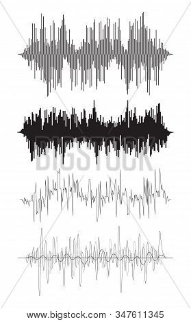 Vector Music Background Of Audio Sound Waves Pulse, Equalizer Voice Frequency, Black And White Set