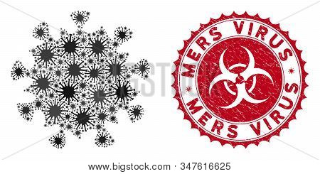 Coronavirus Mosaic Mers Virus Icon And Rounded Grunge Stamp Seal With Mers Virus Phrase. Mosaic Vect