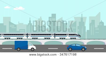 Urban Landscape With Buildings, Passenger Hight Speed Train On Bridge And Car On The Road In City. V