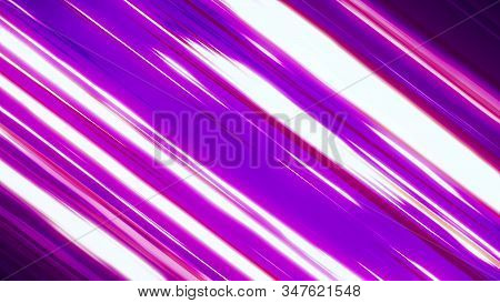 Fast Neon Light Streaks Background. Fast Speed Neon Glowing Flashing Lines Streaks In Purple Pink An