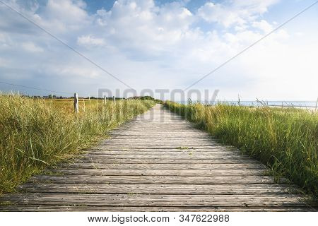 Wooden Walkway Through Tall Grass On The North Sea Coastline, On Sylt Island, Germany, On A Sunny Su
