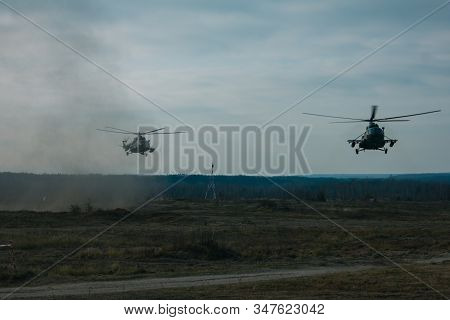 Hostilities. War Concept. Military Training Ground With Explosions. Military Machines. Fighting Oper