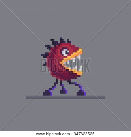 Pixel Art Horrible Hybrid Monster Character. Scary Mutant Personage. Cute Vector Illustration.