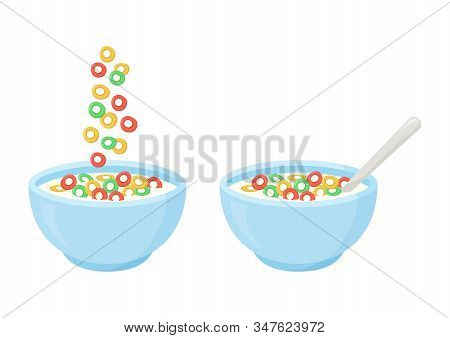 Cereal Breakfast, Healthy Food, Colorful Crisp Rings In Milk. Ceramic Bowl With Falling Sweet Flakes