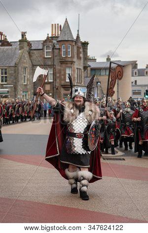 Lerwick, Shetland Isles, Scotland, Uk. 28th January 2020. Up Helly Aa 2020 Guizer Jarl Liam Summers