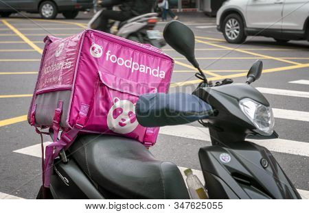 Taipei, Taiwan - January 09: Foodpanda Delivery Motorcycle Parks On The Sidewalk In Shilin In Taipei