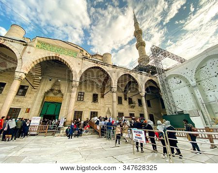 Sultan Ahmet Camii, Istanbul. Blue Mosque Turkish Islamic Landmark With Six Minarets. Theme Of Islam