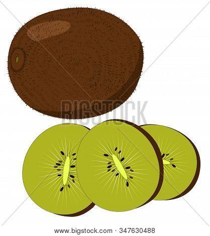 Kiwi Fruit, Kiwi Slices Isolated On White Background.