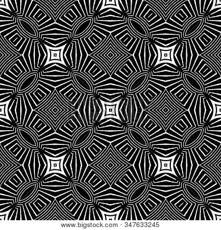 Tribal Black And White Geometric Vector Seamless Pattern. Ornamental Geometry Ethnic Background. Mon