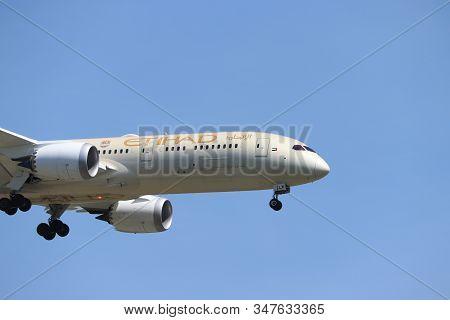 Amsterdam, The Netherlands - June, 1st 2019: A6-blw Etihad Airways Boeing 787-9 Dreamliner Final App