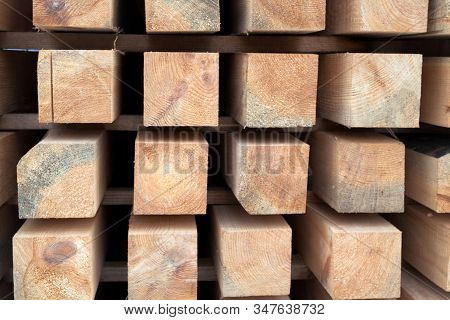 Wooden Beams. Planks. Air-drying Timber Stack. Wood Air Drying (seasoning Lumber Or Wood Seasoning).