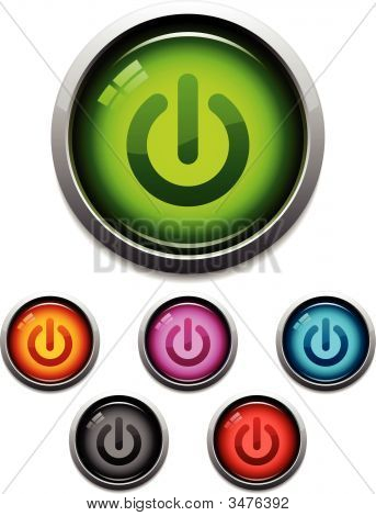 Power Button Glossy Icons