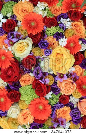 Mixed Flower Arrangement: Floral Wedding Arrangement In Various Colors