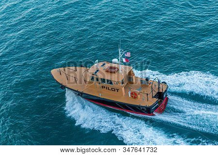 Miami, Florida - November 26, , 2017: A Pilot Boat Is Used To Transport Maritime Pilots Between Land