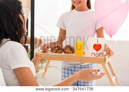 Cropped View Of Child Holding Tray With Breakfast, Mothers Day Card With Heart Sign And Mom Letterin