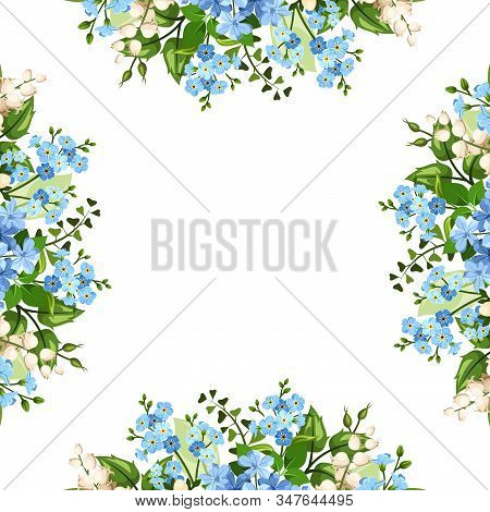 Vector Background Frame With Blue And White Forget-me-not, Lily Of The Valley And Plumbago Flowers.