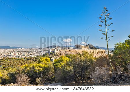 View Of Acropolis Fortress In Athens, From Filopappou Hill