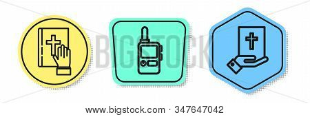 Set Line Oath On The Holy Bible, Walkie Talkie And Oath On The Holy Bible. Colored Shapes. Vector