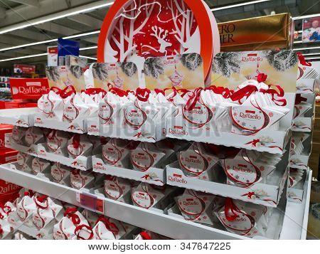 Raffaello Candy Produced By Italian Company Ferrero At Auchan Shopping Center On December 25, 2019 I