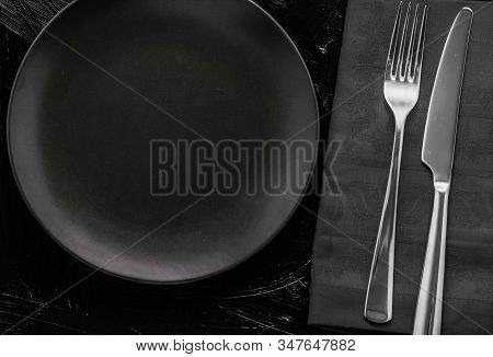 Empty Tableware With Black Napkin, Food Styling Plating Props, Deluxe Set For Wedding, Event, Date,