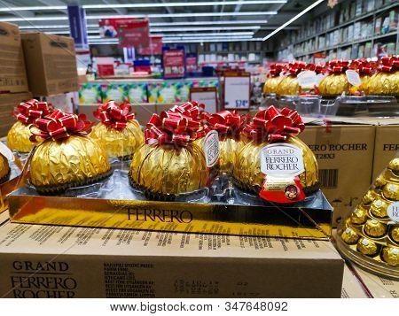 Ferrero Rocher Italian Holiday-style Chocolate For Sale At The Major Auchan Shopping Centre On Decem