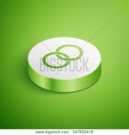 Isometric Wedding Rings Icon Isolated On Green Background. Bride And Groom Jewelery Sign. Marriage I