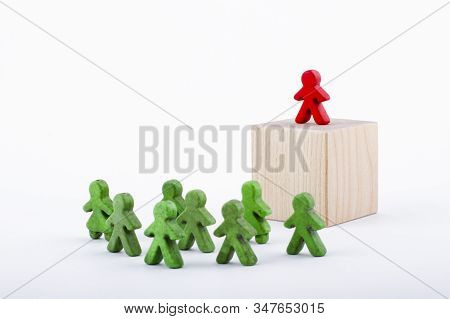 Successful Team Leader (manager, Ceo, Market Leader) And Another Business Leading Concepts. Standing
