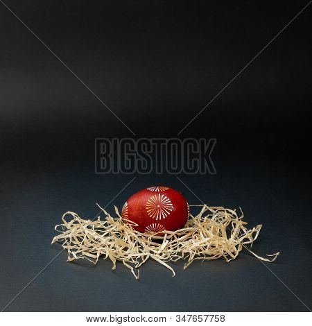 One Traditional Lithuanian Easter Egg, Lithuanian Is Called Margutis, Natural Painting  Red, White A