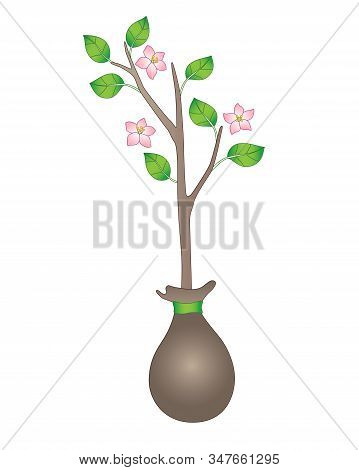 Seedling. Blooming Sapling With Young Leaves. A Small Tree Ready For Planting. Gardening And Buying