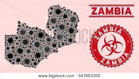 Coronavirus Mosaic Zambia Map And Red Grunge Stamp Watermarks With Biohazard Symbol. Zambia Map Coll