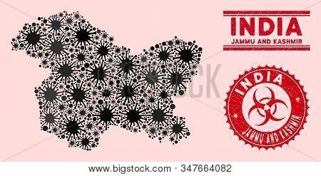 Coronavirus Collage Jammu And Kashmir State Map And Red Grunge Stamp Watermarks With Biohazard Symbo
