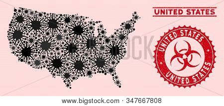 Coronavirus Collage United States Map And Red Distressed Stamp Seals With Biohazard Symbol. United S