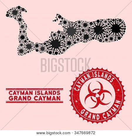 Coronavirus Collage Grand Cayman Island Map And Red Distressed Stamp Watermarks With Biohazard Sign.
