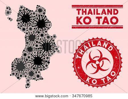 Coronavirus Collage Ko Tao Map And Red Grunge Stamp Watermarks With Biohazard Symbol. Ko Tao Map Col