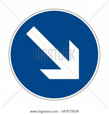 Detour The Obstacle On The Right. Road Sign Of Germany. Europe. Vector Graphics.