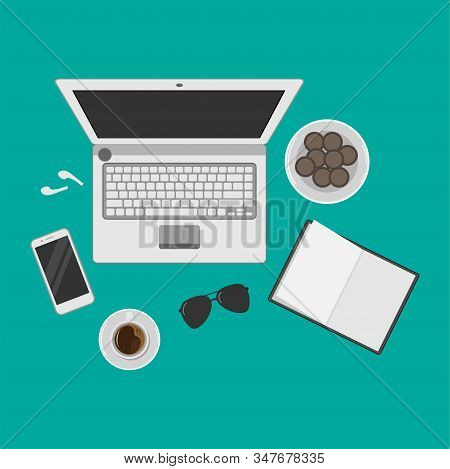 Illustration Of Workplace Concepts For Freelance Vector Design, Laptop Top Viewpoint