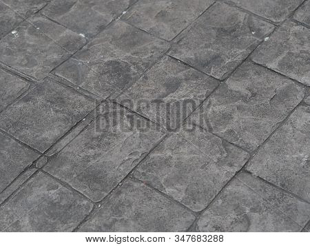Stamp Concrete Black Color Hardener Printing Patterns On The Cement Or Mortar Surface Square Pattern