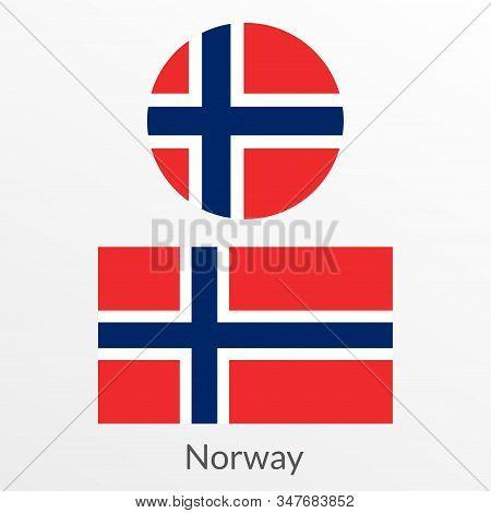 Norway Flag Set. Norwegian National Symbol. Vector Illustration.