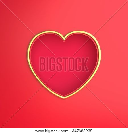 Happy Valentines Day, Valentines Day Background, Red Gold Window Frame Heart Shape Paper Cut Backgro
