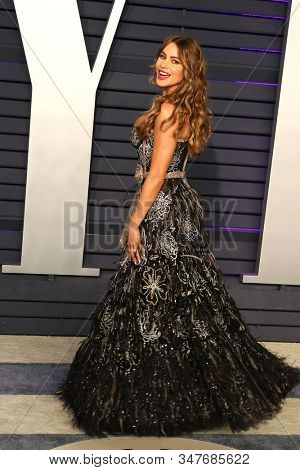 BEVERLY HILLS - FEB 24: Sofia Vergara at the 2019 Vanity Fair Oscar Party at The Wallis Annenberg Center for the Performing Arts on February 24, 2019 in Beverly Hills, CA