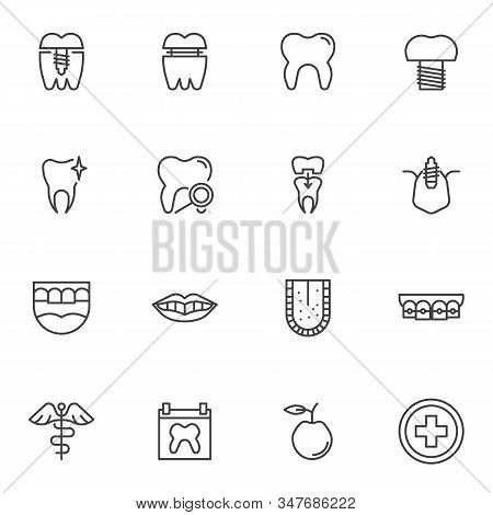 Dentistry Orthodontics Line Icons Set. Linear Style Symbols Collection, Dental Health Care Outline S