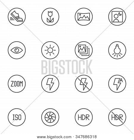 Photo Camera Settings Line Icons Set. Linear Style Symbols Collection, Camera Functions Outline Sign